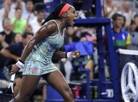 Late in the third set, Coco Gauff finally realizes the second round match against Timea Babos is hers. (Photo: AP?Charles Krupa)