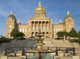 A photo of the Iowa State Capitol.  In the foreground is the Bicentennial Fountain, which was installed in 1992.  Constructed between 1871 and 1886, the Iowa State Capitol was Designed by John C. Cochrane and Alfred H. Piquenard.  The French Baroque Revival building, located in Des Moines, is listed on the National Register of Historic Places.  This photo © Capitolshots Photography, ALL RIGHTS RESERVED.