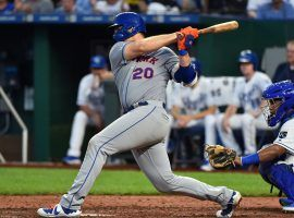 NY Mets rookie 1B Pete Alonso smacks a home run against the Kansas City Royals. (Image: Ed Zurga/Getty)