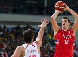 Nikola Jokic take a shot for Team Serbia in a FIBA World Cup qualifier. (Image: Jeff Swinger/USA Today Sports)