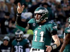 Eagles QB Carson Wentz celebrates a touchdown strike in Philadelphia. (Image: Elsa/Getty)