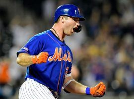 Rookie Pete Alonso of the NY Mets celebrates after connecting on a home run at CitiField in Queens, NY.