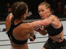 Valentina Shevchenko (right) coasted to a decision victory over Liz Carmouche (left) in the main event at UFC Fight Night 156. (Image: Zuffa)