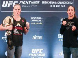 Valentina Shevchenko (left) will defend her women's flyweight title vs. Liz Carmouche (right) at UFC Fight Night 156. (Image: Alexandre Schneider/Zuffa)