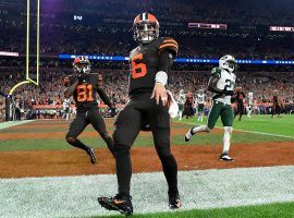 Browns QB Baker Mayfield celebrates a touchdown against the NY Jets. (Image: Jason Miller/Getty)
