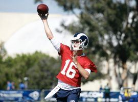 Los Angeles Rams quarterback Jared Goff won't play in the team's first preseason game, but already has the team in mid-season form. (Image: Getty)
