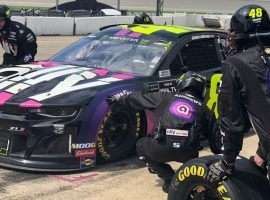 It's been a rough season for Jimmie Johnson, and it continued last Sunday at Michigan when he crashed into the wall and damaged his car. (Image: Nascar.com)