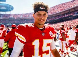 Caption One: Patrick Mahomes leads his contemporaries in two of four quarterback prop bets, including most touchdowns and most passing yards. (Image: Getty)