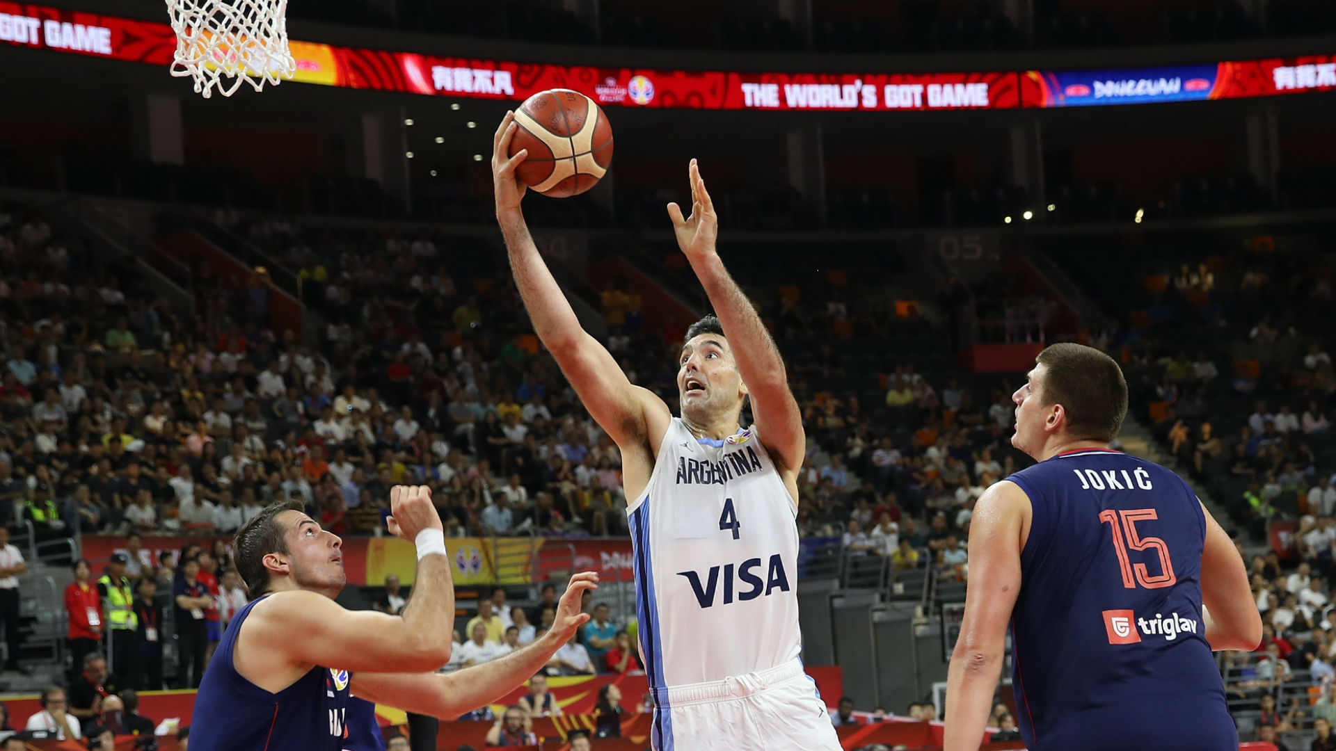 Luis Scola goes to the hoop in the FIBA World Cup matchup between Argentina and Serbia.
