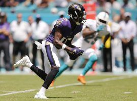 Rookie WR Hollywood Brown scored two touchdowns on his first two receptions for the Baltimore Ravens. (Image: Michael Reaves/Getty)