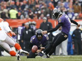 Baltimore Ravens All-Pro kicker Justin Tucker boots a FG against the Cleveland Browns in 2018. (Image: Kirk Irwin/Getty)