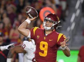 USC freshman QB Kedon Slovis throws a touchdown in his debut for the Trojans. (Image: Getty)