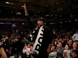 Ex-Knicks star Carmelo Anthony gets love from fans at Madison Square Garden during a Knicks game in 2019. (Image: Getty)