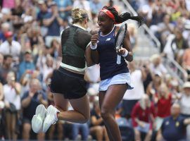 Caty McNally and Coco Gauff -- McCoco -- celebrate in their signiture bump after second round US Open win (Image: Kevin Hagen/Associated Press)