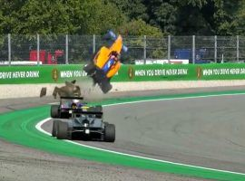Alex Peroni's Formula 3 car is airborne after hitting a sausage curb at Monza (Image: FoxSports)