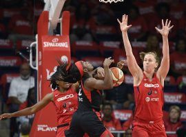The Washington Mystics survived a scare from the Las Vegas Aces to take a 1-0 lead in their WNBA semifinal series. (Image: Nick Wass/AP)