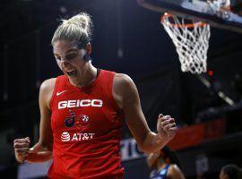 Elena Delle Donne scored points to lead the Washington Mystics past the Connecticut Sun in Game 1 of the 2019 WNBA Finals. (Image: Patrick Semansky/AP)