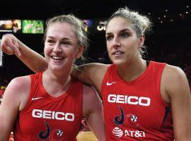 Emma Meesseman (left) and Elena Delle Donne (right) led the Washington Mystics in a Tuesday win over the Las Vegas Aces which sent the team to the WNBA Finals. (Image: Ethan Miller/Getty)