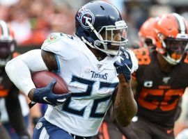 Derrick Henry of the Tennessee Titans runs for a touchdown in an upset over the Cleveland Browns. (Image: Ken Blaze/USA Today Sports)