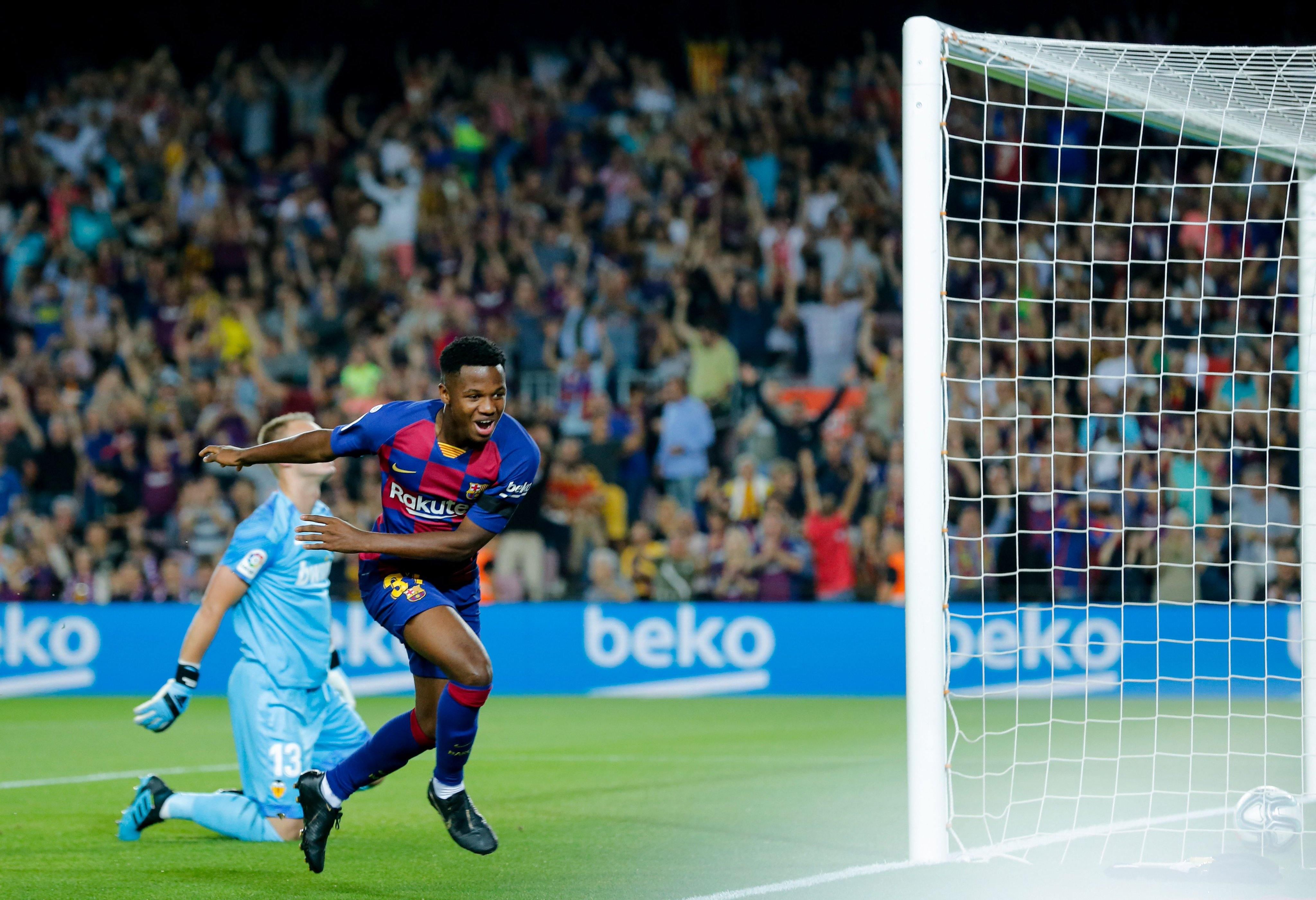 Ansu Fati scores in his first start for Barcelona