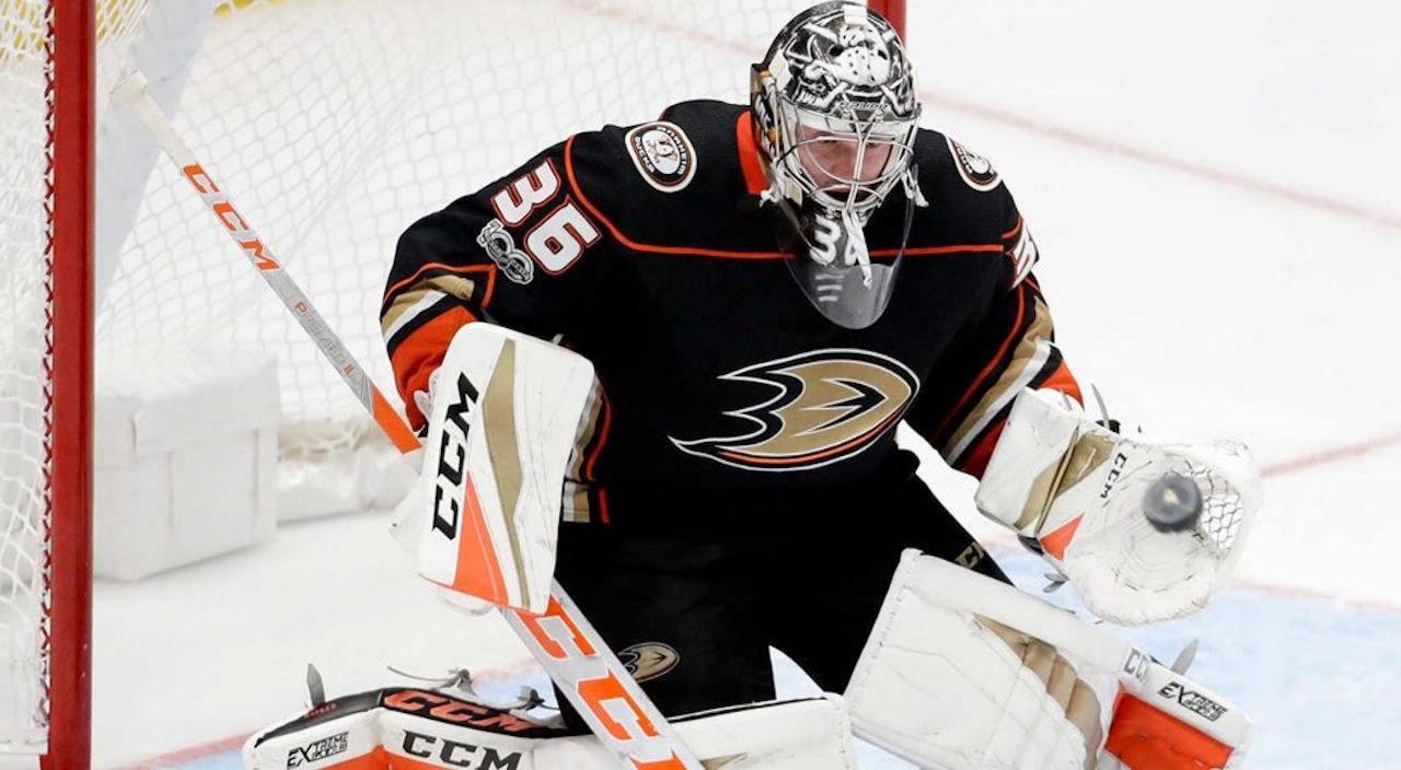 Anaheim Ducks goalie, John Gibson