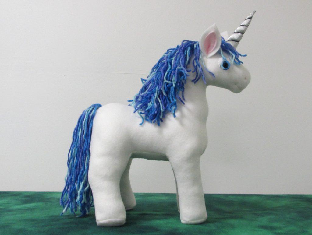 a silver and blue unicorn