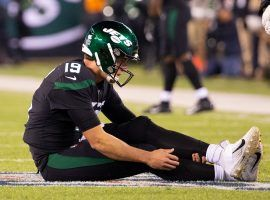 NY Jets backup QB Trevor Siemian clutches his injured ankle in the second quarter of a Monday Football loss to the Cleveland Browns. (Image: Porter Lambert/Getty)