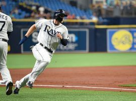Tampa Bay Rays CF Austin Meadows rounds third base in a win over the Orioles at Tropicana Stadium in St. Pete. (Image: Allie Goulding/Tampa Times)