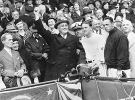 President Franklin D. Roosevelt throws out the first pitch in the 1933 World Series in Griffin Stadium. (Image: AP)