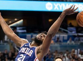 Philadelphia Sixers center Joel Embiid grabs a rebound in a preseason game. (Image: AP)
