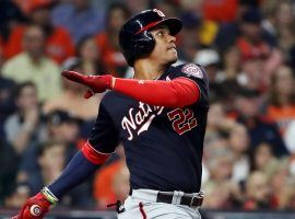 Juan Soto went 3-for-4 with a home run and three RBIs to lead the Washington Nationals to a 5-4 win over the Houston Astros in Game 1 of the 2019 World Series. (Image: Getty)