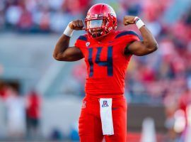 Arizona QB Khalil Tate is coming off a 400-plus yard and three touchdown game against Colorado. (Image: Mark J. Rebilas/USA Today Sports)