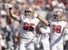 San Francisco 49ers TE Greg Kittle and WR Dante Pettis celebrate a touchdown against the Carolina Panthers at Levi Stadium in Santa Clara, CA. (Image: Stan Szeto/USA Today Sports)