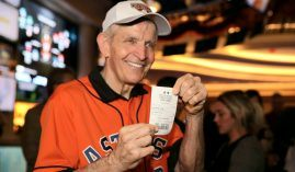 Jim 'Mattress Mack' McIngvale flashing his bet slip after wagering $2.5 million on the Houston Astros last week in Biloxi, MS. (Image: Draft Kings)