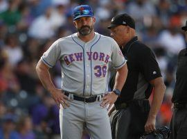 NY Mets ex-manager Mickey Callaway is frustrated after losing an argument with a home plate umpire. (Image: David Zalubowski/AP)