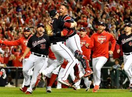 The Washington Nationals celebrate a sweep of the Cardinals after winning Game 4 of the 2019 NLDS in Washington. (Image: Brad Mills/USA Today Sports)