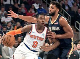 NY Knicks rookie RJ Barrett drives to the basketball against the New Orleans Pelicans at Madison Square Garden. (Image: Bill Kostroun/NY Post)