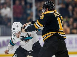 Boston Bruins winger Brett Ritchie lands a punch against San Jose Sharks winger Barclay Goodrow during a hockey fight in Boston. (Image: Greg M. Cooper/USA Today Sports)