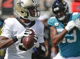 New Orleans Saints quarterback Teddy Bridgewater drops back for a pass against the Jacksonville Jaguars. (Image: Phelan M. Ebenhack/AP)