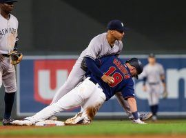 NY Yankees second baseman Gleyber Torres tries to tag out Minnesota Twins catcher Mitch Garber. (Image: Brad Rempel/USA Today Sports)
