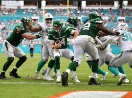 NY Jets quarterback Sam Darnold is harassed by the Miami Dolphins during a loss at Hard Rock Stadium. (Image: Getty)