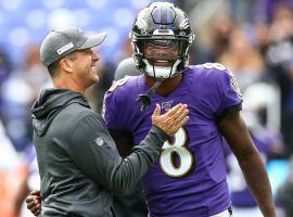 Baltimore Ravens head coach John Harbaugh and quarterback Lamar Jackson during pregame warmups. (Image: Getty)