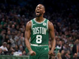 Boston Celtics guard Kemba Walker celebrates a comeback victory for the 6-1 Celtics. (Image: Barry Chin/Boston Globe)