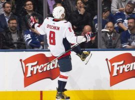 Washington Capitals captain Alex Ovechkin celebrates a game-winning goal in overtime to defeat the Toronto Maple Leafs in Toronto, Ontario. (Image: AP)