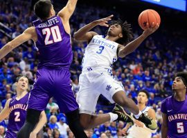 Evansville guard Sam Cunliffe blocks Kentucky guard Tyrese Maxey at Rupp Arena in Lexington, KY. (Image: Getty)