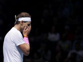 Rafael Nadal is out of the ATP Finals despite winning his final group stage match against Stefanos Tsitsipas. (Image: Getty)