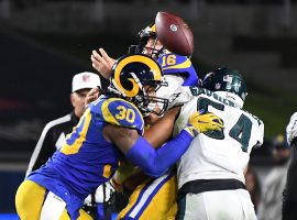 The Philadelphia Eagles and LA Rams clash in December 2018. (Image: Getty)