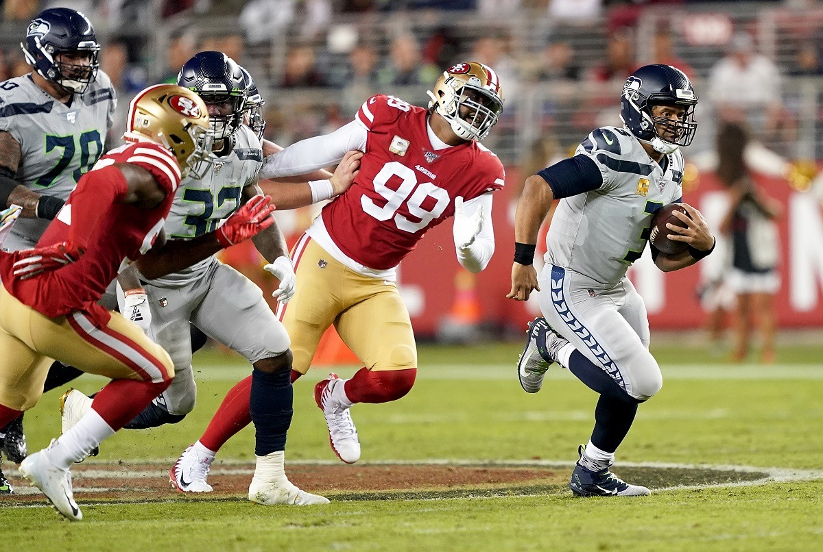 Seattle Seahawks QB Russell Wilson defeat San Franciscon Niners loss 49ers