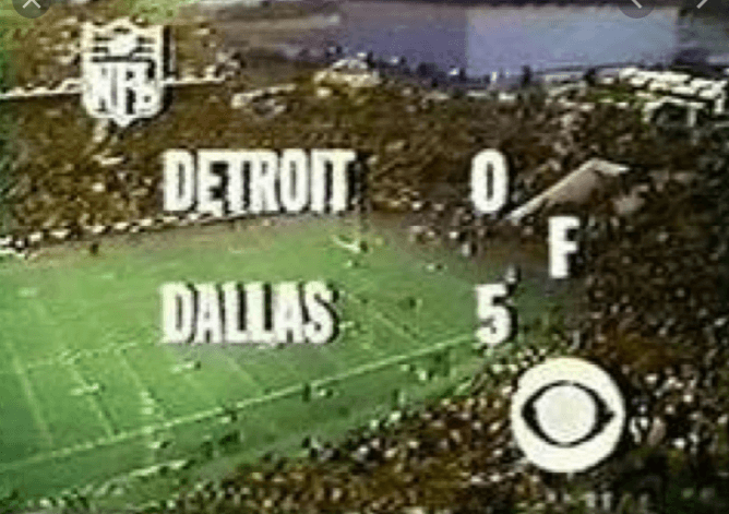 Dallas 5, Detroit 0 (Thanksgiving 1970)