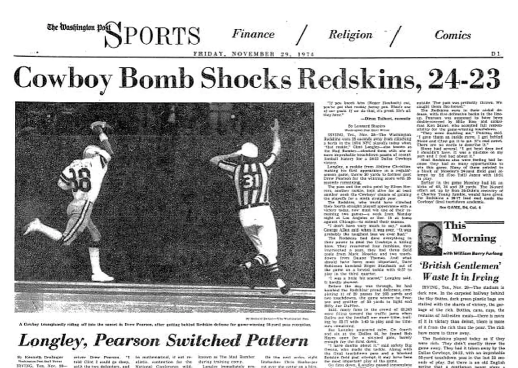 1974 Washington Post: Dallas Cowboys beat Redskins